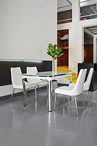 Bellona 5 Piece Extendable Dining Set Table WF330 (White) - Extendable Dining Table Set