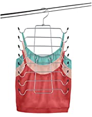 Space Saver Durable Tank Top Hanger & Bra Organizer - Folding Metal Hanger, Multi-Use 16-in-1 Space-Saving Cami & Bra Hangers Great for Lingerie, Bathing suits, Strappy Dresses, Accessories, Tie/Belts