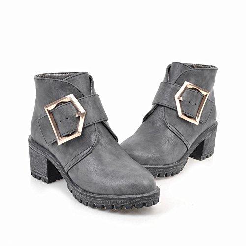 Draagarm Dames Gesp Comfort Casual Retro Middelhoge Korte Laarzen Grijs