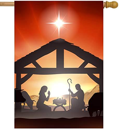 ShineSnow Traditional Winter Christmas Nativity Birth Born Scene Story House Flag 28