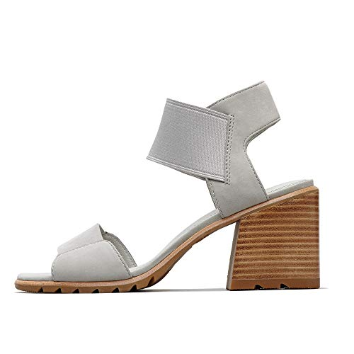 a Sandals Open Toe Sandals with Ankle Strap and Heel, Nubuck, Dove, 10 M US ()