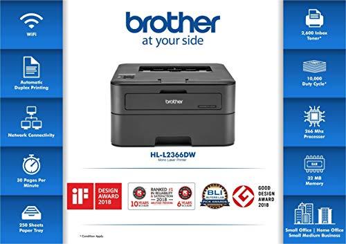 Brother HL-L2366DW Monochrome Laser Printer with Wi-fi, Network & Auto Duplex Printing