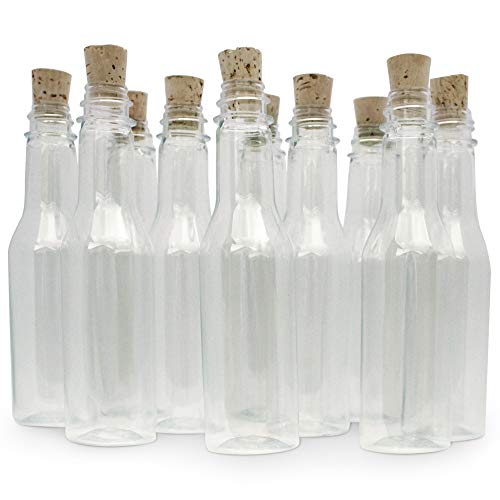 Message Bottle Wedding Invitations - Plastic Bottles & Corks for Message in a Bottle Invitations, Announcements & Favors (Plastic, 20 Bottles)