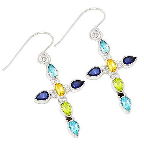 - Xtremegems Citrine, Blue Topaz, Peridot & Iolite 925 Sterling Silver Earrings 1 5/8