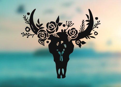 - Bull Head Skull Horns Flowers - Vinyl Decal - Car Truck Laptop - SELECT SIZE