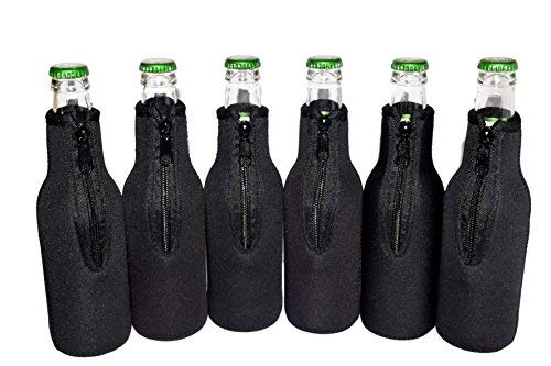 QualityPerfection 6 Black Beer Bottle Cooler Sleeves - Extra Thick Neoprene,Stitched Fabric Edges&Bonus Bottle Opener Great 4 Parties,Holiday,Events (Black, 6)