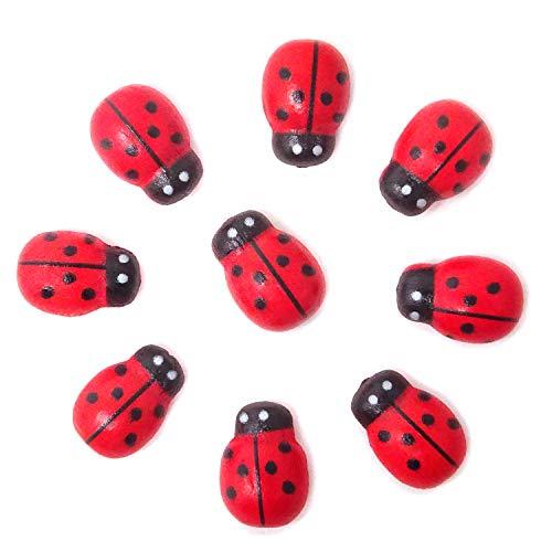 Honbay 100PCS 10x13mm Flatback Self Adhesive Tiny Wooden Ladybug Embellishments for Micro Landscape, DIY Crafts and More -