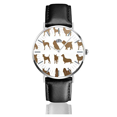 - Womens Watch Dog Breeds Cool Waterproof Stainless Steel Quartz Wrist Watches with Replaceable Leather Band