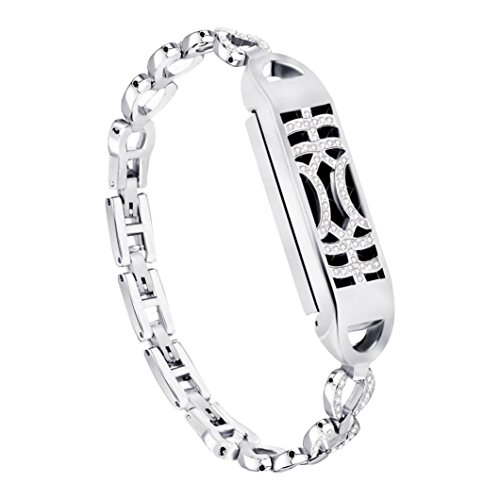 Hongxin Stainless Steel Strap For Fitbit Flex 2 Watch Band Rhinestone Diamond Smart Watch Metal Band Adjustable Metal Magnetic Adsorption Switch Wristband (Silver) Band Rhinestone Decor