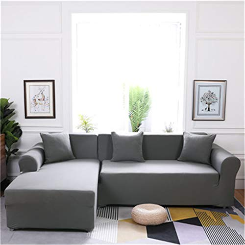 (Elasticity L Shaped Sofa Cover Single/Double/Three/Four-Seat Sofa Slipcovers Cotton Solid Sofa Cover for Living Room Seat Cover 9 Four-Seater)