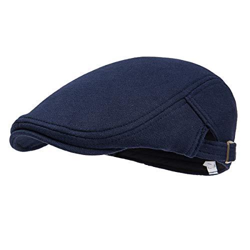 FEICUI Men's Cotton Flat Cap Newsboy Ivy Cabbie Hat (Navy -