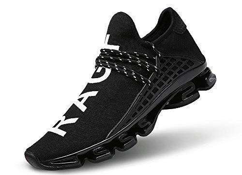 JIYE Men's Running Sports Shoes Free Transform Flyknit Fashion Casual Sneakers,Black,9.5US-Men/11US-Women