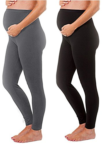 - 1, 2, and 3 Pack Gift Set - Stretch Maternity Leggings Seamless Solid Color Nursing Clothes Tights (2 Pack- Maternity Leggings Black, (2 Pack- Maternity Leggings Black and Grey