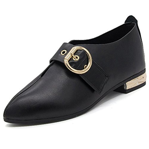 Btrada Women Lady Pointed-Toe Low Heel Mary Jane Shoes Soft Metal Buckle Dress Shoes Black 8LCxYmv