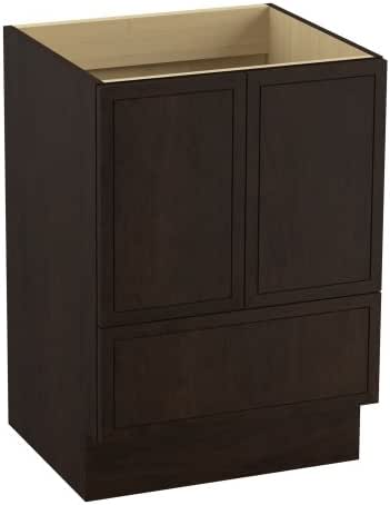 KOHLER 99501-TK-1WB Jacquard 24-Inch Vanity with Toe Kick, 2 Doors and 1 Drawer, Claret Suede