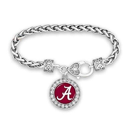 FTH Alabama Crimson Tide Clasp Bracelet with Round Team Logo and Embellished with - Bracelet Team Logo