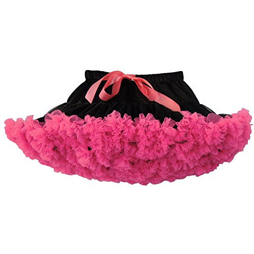 "SaiDeng 18"" Retro Jupon Swing Vintage Mini Petticoat Fantaisie Net Jupe Noir Rose"