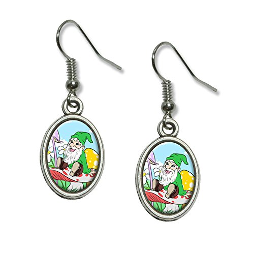 Gnome Sitting on Mushroom - Lawn Clover Flowers Fantasy Novelty Dangling Drop Oval Charm Earrings (Lawn Gnome Costume)