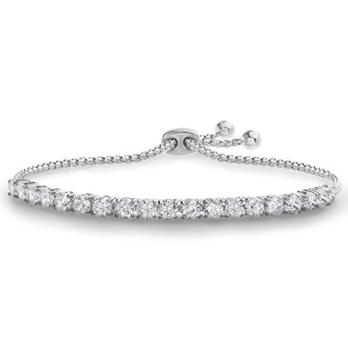 Devin Rose 8 Cttw Cubic Zirconia Adjustable Bolo Bracelet for Women in Rhodium Plated Brass (4mm White)]()