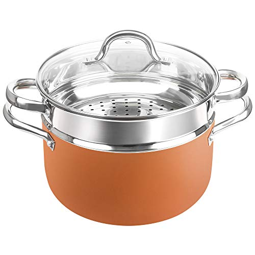 SHINEURI 6 Quart Stockpot with Lid, Nonstick Copper Casserole Pot with Stainless Steel Steamer Inset, Compatible for Induction, Gas, Electric & Stovetops - Dishwasher Safe, PFOA/PTFE Free