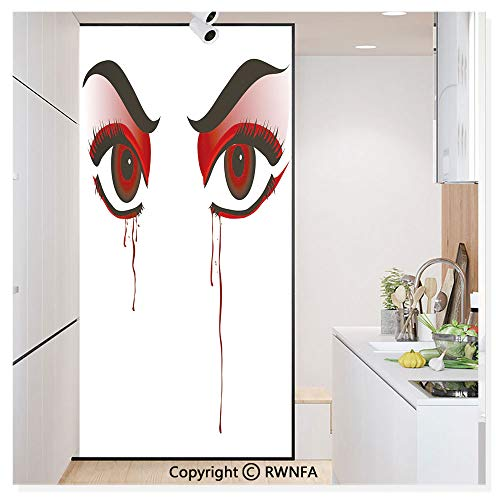 Decorative Window Films Kitchen Glass Sticker Red Eyes of a Woman Dropping Blood Tears Female Foe Threatening Look Danger Waterproof Anti-UV for Home and Office 11.8