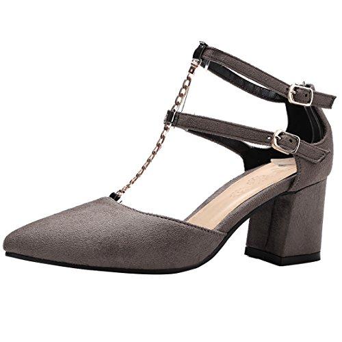 AIYOUMEI Damen Spitz T-spangen Pumps mit Riemchen und 6cm Absatz Blockabsatz Bequem Sommer Schuhe Grau