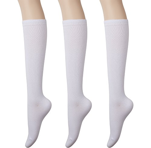 KONY Womens Cotton Knee High Socks - Casual Solid & Triple Stripe Colors Fashion Socks 3 Pairs (Womens Shoe Size 5-10) (Solid White - 3 Pairs)]()