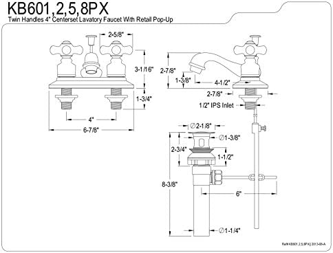 Kingston Brass KB602PX Restoration 4-Inch Centerset Lavatory Faucet with Porcelain Cross Handle, Polished Brass