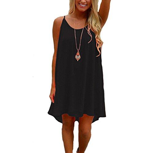 iToolai Women's Summer Casual Sundress Chiffon Sleeveless Tank Beach Shift Dress (M, Black) - Girl Costumes For Halloween Tumblr