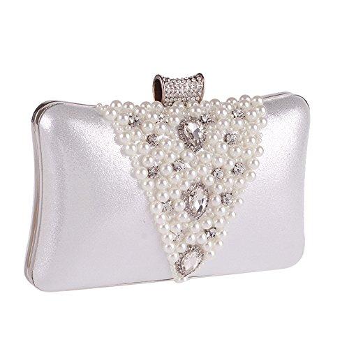 de Diamant de Mariage Femmes Soirée clouté Mesdames d'embrayage Argent Ofgcfbvxd de Or Sac Bourse Main Perle à Couleur OAqpnw
