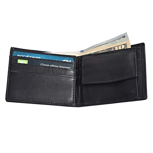 Boys Slim Compact Flap Id and Coin Pocket Bifold Wallet Black