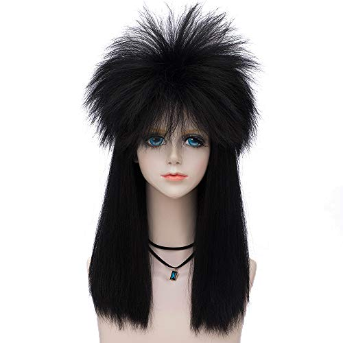 Probeauty Wild Collection 80s Wigs Halloween Costumes Male Spiky Wig Punk Heavy Metal Mullet Wig Long (Black)