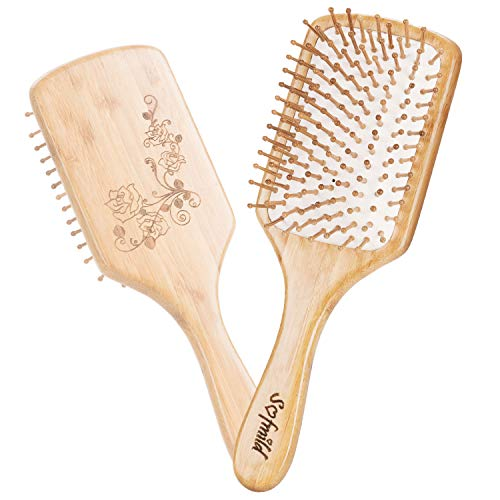 Hair Brush-Natural Wooden Bamboo HairBrush For Women,Men Hair Eco-Friendly Bamboo Bristles Pin Hairbrush Scalp Massage Improve Thin,Straight,Long,Curly,Short Hair Health,Paddle Detangling Brush