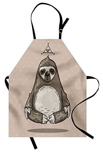 Sloth Costume Ideas (Ambesonne Sloth Apron, Cartoon Sloth Meditates Lotus Position Relax Lifestyle Comic Inspirational, Unisex Kitchen Bib with Adjustable Neck for Cooking Gardening, Adult Size, Taupe)