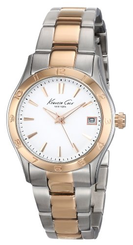 Kenneth Cole New York Women's KC4930 Modern Core Silver Dial Rose Gold Bezel and Bracelet Watch