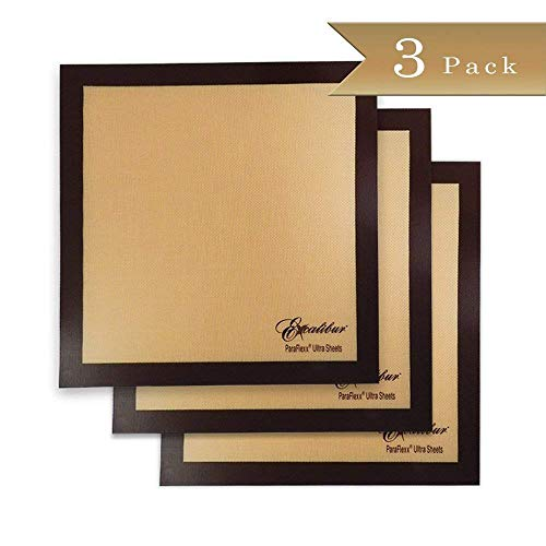 Set of 3 - 14 x 14 Inches - Excalibur ParaFlexx Ultra Silicone Re-usable Non-stick Dehydrator (Leather Sheet Set)