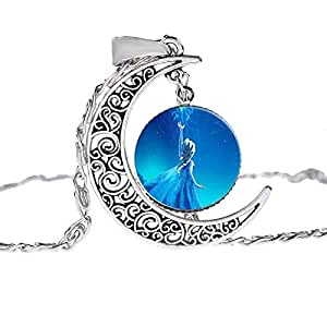 Frozen Pendant Necklace Fashion Silver Chain Moon Pendant Necklace