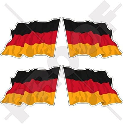 Deutschland Deutsche Wehende Flagge Deutschland 50mm Auto Motorrad Aufkleber X4 Vinyl Stickers Links Rechts Garten