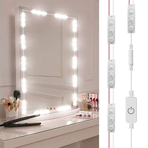 10 Feet Led Lighting - DIY Hollywood Style LED Vanity Mirror Lights Kit Dimmable Lighting, 10FT/20W-60leds, Daylight White, Waterproof IP67 Under Cabinet Lighting, Kitchen Lighting with dimmable and power supply