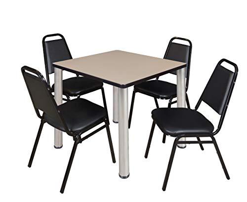 Regency A-TB3030IVBPCM29BK Kitt Square Table and Restaurant Chair Set, 30