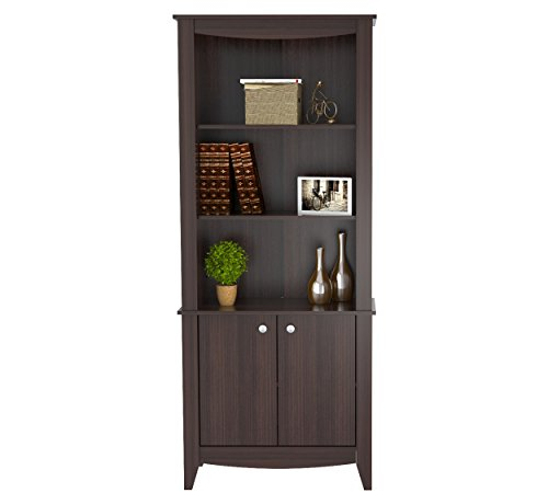 Inval BE-8004 Espresso Wengue Wood 4 Shelf Bookcase with Covered (Double Faced Book Display)