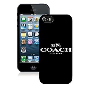Genuine Coach logo 1 Black Iphone 5S Screen Cellphone Case Fashion and Custom Design