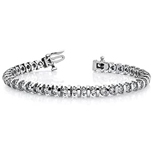 14K White Gold Diamond Round Brilliant Prong Set Tennis Bracelet (4.0ctw.) - Size 7.25