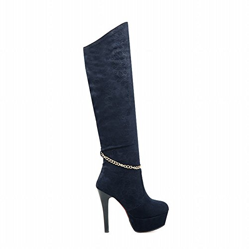 Blue Chic Dress Heel Womens Elegance Stiletto Boots Tall Carolbar High Sexy Charms Platform Chains Xw6qUOxp