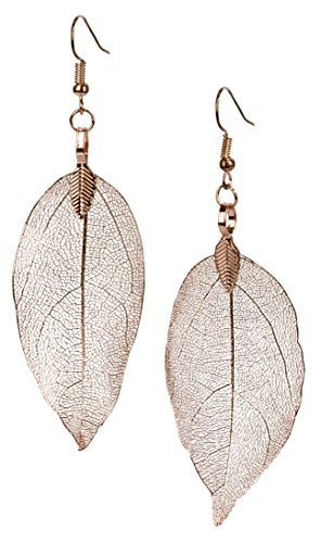 SPUNKYsoul Leaf Filigree Earrings Lightweight Silver, Gold and Gun Metal & Rose Gold Fishhook Earwire Gift for Women Collection (Earrings Rose Gold)