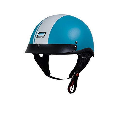 Origine Breve Gara Half Helmet (Flat Blue/White, Medium) (Stripe) (Vespa Helmet White)