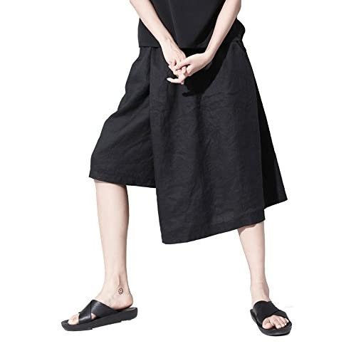 ELLAZHU Women Personality Solid Faux 2in1 Capris Pants Shorts GY915 A