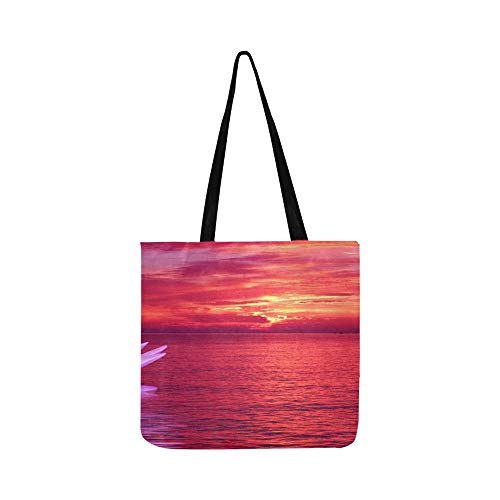 Water Lily Sunset Sea Afterglow Canvas Tote Handbag Shoulder Bag Crossbody Bags Purses For Men And Women Shopping Tote (Saint Laurent Monogram Leather Cross Body Bag)