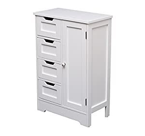 homcom white wooden cabinet w 4 drawers u0026 cupboard for bathroom bedroom home storage unit 560mmwith cupboard