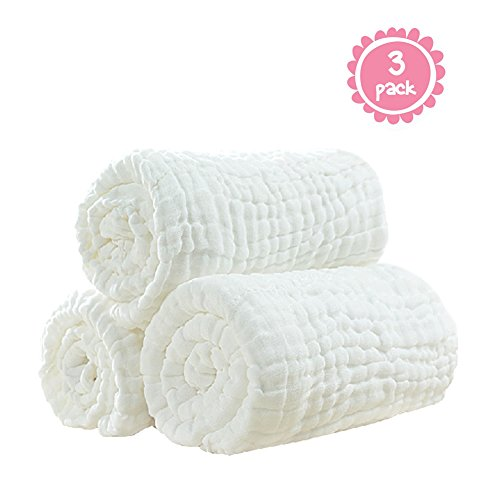 100% Medical Grade Natural Antibacterial,super Water Absorbent,soft and Comfortable,suitable for Baby's Delicate Skin,cotton Gauze Warm Baby Bath Towels Also for Baby Blanket -3 Pcs